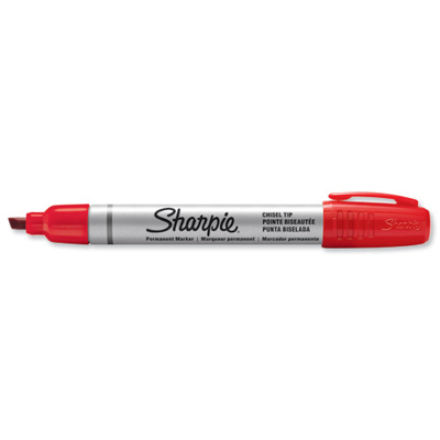 MARKER SHARPIE SMALL METAL BARREL PUNTA SCALPELLO ROSSO